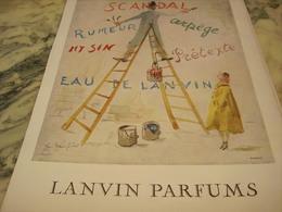 ANCIENNE PUBLICITE PARFUMS  DE LANVIN 1951 - Parfums & Beauté