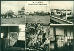 CARTOLINA - MILANO - CV77 MILANO Saluti Dall'aeroporto (Forlanini) 6 Vedutine, FG BN, Viaggiata 1957, Perfetta - Milano