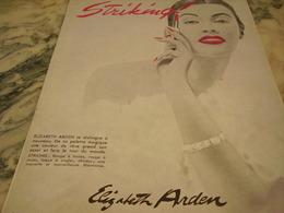 ANCIENNE PUBLICITE ROUGE A LEVRE STRIKING DE ELIZABETH ARDEN 1951 - Parfums & Beauté