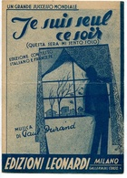 """JE SUIS SEUL CE SOIR"" (OUESTA SERA MI SENTO SOLO) - MUSICA: PAUL DURAND, EDIZIONI LEONARDI PARTITURA -LILHU - Partituras"