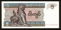 Myanmar 1996, 5 Kyats, CJ3705443, UNC, Kassenfrisch - Myanmar