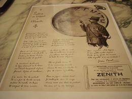 ANCIENNE PUBLICITE  MONTRE ZENITH LETTRE DE L ABSENT 1915 - Jewels & Clocks