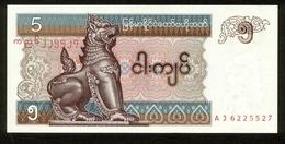 Myanmar 1996, 5 Kyats, AJ6225527, UNC, Kassenfrisch - Myanmar