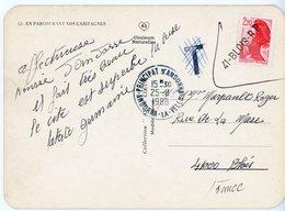 ANDORRE CP 1988 ANDORRA LA VELLA TIMBRE FRANCAIS REFUSE + T / ANNULATION T ET TIMBRE EN ARRIVEE BLOIS LOIR ET CHER - Marcophilie (Lettres)