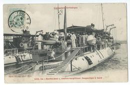 """CPA Bateau Navire De Guerre Contre-Torpilleur """"La Sarbacane"""" Inspection à Bord - Guerre"""