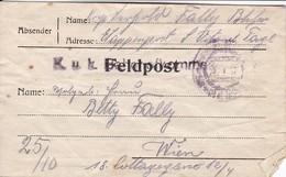 Feldpostbrief Etappenpost San Vito Al Tagliamento - K.u.k. Bahnhofskommando Nach Wien - 1918 (38541) - Cartas
