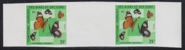 AFARS & ISSAS (1975) Hypolimnas Misippus. Imperforate Gutter Pair.  Scott No 392, Yvert No 404. - Afars Et Issas (1967-1977)