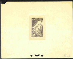 MARTINIQUE (1947) Mont Carbet. Trial Color Die Proof In Black With Color Code Penciled In Margin. Scott No 232 - Martinique (1886-1947)