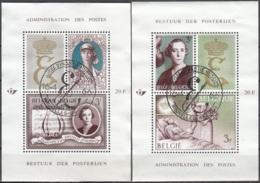 Belgique 1966 COB Bloc Feuillet 40 - 41 O Cote (2016) 2.80 Euro Reine Elisabeth Cachet Rond - Blokken 1962-....