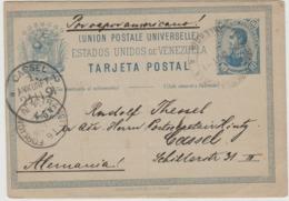 VENEZUELA - 1891 - Tarjeta Postal - Cachet De Valencia-Foreign N.Y. - CASSEL - Brrrrrrrrrrrrrrr - Venezuela