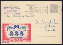 BELGIUM (1955) Windmills. Pudding With Vanilla. Belgian Publibel (used) No 1309 With Two-color Advertisement - Stamped Stationery