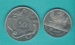 1990 Issues - 10 Dobras (KM29a) & 50 Dobras (KM52) - Sao Tome Et Principe