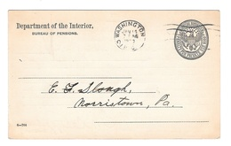 USA Dept Of Interior Official Penalty Card Bureau Of Pensions 1920 Receipt Of Papers - Postal History