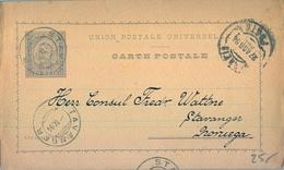 1894 , PORTUGAL , ENTERO POSTAL CIRCULADO , OPORTO - STAVANGER ( NORUEGA ) , MAT. NORUEGO SOBRE EL SELLO - Ganzsachen