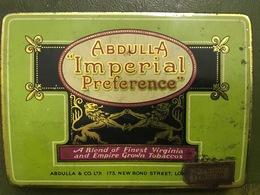 Boîte à Cigarettes En Fer ABDULLA IMPERIAL PREFERENCE Finest Virginia Tobacco - Etuis à Cigarettes Vides