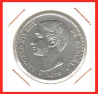 ESPAÑA MONEDA DE ALFONSO XII. 5 PESETAS PLATA 1876 --  M-DE *76 - Primeras Acuñaciones