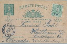 1896 , PORTUGAL , ENTERO POSTAL CIRCULADO , OPORTO - HEILBRONN , LLEGADA , FRANQUEO COMPLEMENTARIO - Ganzsachen