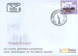 2016 FDC, The 100th Anniversary Of The Medovo Disaster, Ships, Montenegro, MNH - Montenegro