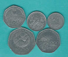 1997 Issues - 100, 250, 500, 1000 & 2000 Dobras (KMs 87-91) - Sao Tome Et Principe