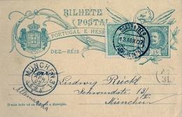1907 , PORTUGAL , ENTERO POSTAL CIRCULADO , FIGUEIRA DA FOZ - MUNICH , LLEGADA , FRANQUEO COMPLEMENTARIO - Ganzsachen