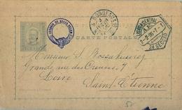 1896 , PORTUGAL , ENTERO POSTAL CIRCULADO , LISBOA - SAINT ETIENNE , AMBULANTE , LLEGADA AL DORSO - Ganzsachen