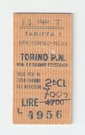 BIGL--00038-- BIGLIETTO FERROVIE DELLO STATO-TARIFFA 1 - TORINO P.NUOVA-SPOTORNO-TORINO 8-3-1984 - Treni