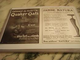 ANCIENNE PUBLICITE QUAKER CAT ET JAMBE NATURA 1915 - 1914-18