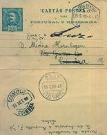 1898 , PORTUGAL , ENTERO POSTAL CIRCULADO , LISBOA  - COIMBRA , REDIRIGIDO A LUSO , LLEGADAS - Ganzsachen