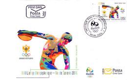 2016 FDC, Olympic Games Rio De Janeiro, Brazil, Montenegro, MNH - Montenegro