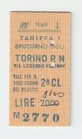 BIGL--00038-- BIGLIETTO FERROVIE DELLO STATO-TARIFFA 1 - TORINO P.NUOVA-SPOTORNO-TORINO P.NUOVA 27-5-1986 - Treni