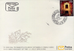2016 FDC, The 75th Anniversary Of The July 13th Uprising, Montenegro, MNH - Montenegro