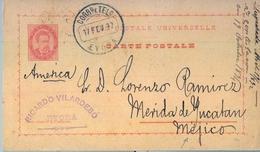 1892 , PORTUGAL , ENTERO POSTAL CIRCULADO , ÉVORA - MÉRIDA DE YUCATÁN ( MÉXICO ) , AL DORSO FECHADOR DE NUEVO LAREDO - Ganzsachen