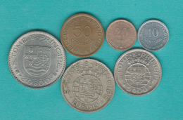 Portuguese - 1971 Issues - 10 (KM15a) 20 (KM16.2) & 50 Cents (KM17.2); 5 (KM22) 10 (KM23) & 20 Escudos (KM24) - Sao Tome Et Principe