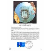 Encart Sur Papier Glacé - Fonds Marins - 28/03/1981 Dunkerque - Documents Of Postal Services