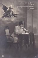 AK Getreu Hält Meine Liebe Wacht - österr. Soldat Mit Gewehr - Frau Mit Brief- K.u.k. Armee - Patriotika - 1. WK (38556) - Weltkrieg 1914-18