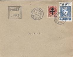 Vignettes - Poste Spéciale F.F.I. - M.L.N & Timbre Pétain Avec Croix De Lorraine ( Vrai Ou Faux ???) Cahet PARIS LIBERE - Liberation