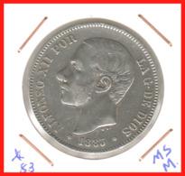 ESPAÑA MONEDA DE ALFONSO XII. 5 PESETAS PLATA 1883 --  M-MS - Primeras Acuñaciones