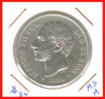ESPAÑA MONEDA DE ALFONSO XII. 5 PESETAS PLATA 1884 --  M-SM   (*18-84) - Primeras Acuñaciones