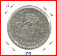 ESPAÑA MONEDA DE ALFONSO XII. 5 PESETAS PLATA 1885 --  M-SM   (*18-87) - Primeras Acuñaciones