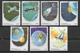 NICARAGUA   1984 GIORNATA DELLA COSMONAUTICA YVERT. 1330-1333+ POSTA AEREA 1059-1061 USATA VF - Nicaragua