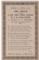 SONNET ACROSTICHE DEDIE A MON CHER FRERE ADOLPHE ET A SA EPOUSE 10 ANNIV. L.B. BUENOS AIRES 1889 - BLEUP - Customs