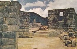 INTIHUATANA. RELOJ SOLAR EN MACHU PICHU. CUZCO, PERU. PLASTICHROME. ADVERTISING BEHINDE HANDCRAFT. CIRCA 1950s - BLEUP - Peru