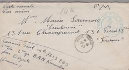 LAC 1945 - Cachet SERVICE A LA MER  ( BAN Karouba Par Bizerte - Tunisie) + Cachet Poste Navale - Storia Postale