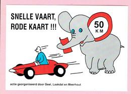 Sticker - SNELLE VAART,RODE KAART - Actie Door Geel,Laakdal En Meerhout - Olifant 50 Km - Autocollants