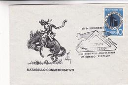 MATASELLO CONMEMORATIVO. PRIMER VUELO SUDAMERICA ZEPPELIN 50 AÑOS. SPC 1980 RARE ENVELOPPE. URUGUAY - BLEUP - Zeppelins