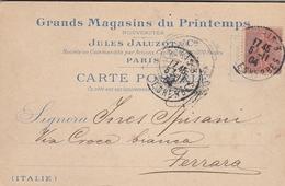 """1904 - Carte Postale Avec Entête """" Grands Magasins Du Printemps """"  De Paris Pour Italie - Ecrite En Italien -  YT 129 - Advertising"""