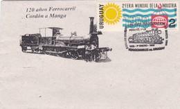 120 AÑOS FERROCARRIL CORDON A MANGA. 130 AÑOS INAGURACION FERROCARRILES. SPC 1969 RARE ENVELOPPE. URUGUAY - BLEUP - Trains