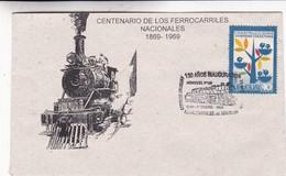 CENTENARIO FERROCARRILES NACIONALES. 130 AÑOS INAGURACION FERROCARRILES. SPC 1969 RARE ENVELOPPE. URUGUAY - BLEUP - Trains