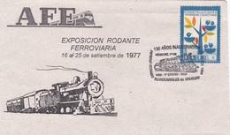 AFE, EXPO RODANTE FERROVIARIA 1977. 130 AÑOS INAGURACION FERROCARRILES. SPC 1969 RARE ENVELOPPE. URUGUAY - BLEUP - Trains