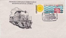 PRIMERAS JORNADAS FERROVIARIAS REGIONALES. 130 AÑOS INAGURACION FERROCARRILES. SPC 1969 RARE ENVELOPPE. URUGUAY - BLEUP - Trains